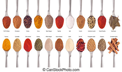 Spices collection on spoons - gorgeous collection of 22...
