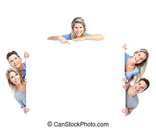 Happy people - Smiling happy people with big poster Isolated...