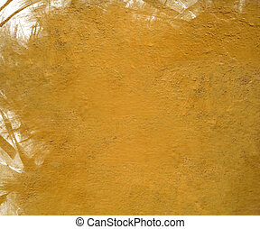 Yellow cloudy gloss paint with grunge feather edge isolated...