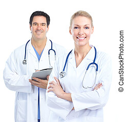 Doctor - Smiling medical doctors Isolated over white...