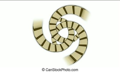 spiral stairs and send stripe shaped tunnel hole,square card...