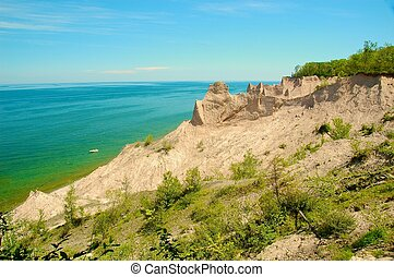 Chimney Bluffs State Park along the shore of Lake Ontario...