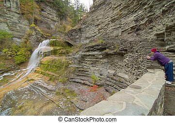 Lucifer Falls in the Robert H Treman State Park, Ithaca, New...