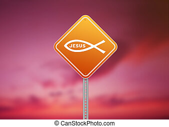 Ichthus Religious Road Sign - High resolution graphic of a...