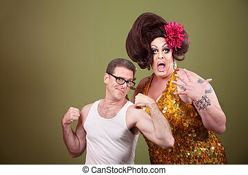 Man with Drag Queen - Shocked tall drag queen with short...