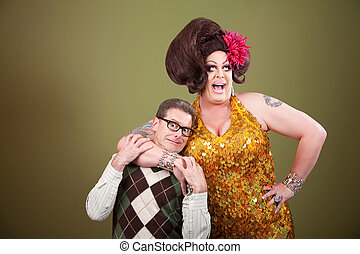 Large Woman Holding Nerd - Large drag queen holds a...