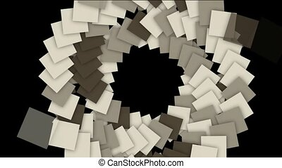 rotation square paper cards tunnel hole and swirl...
