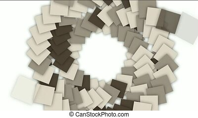 swirl stairway and rotation square paper cards tunnel...