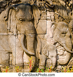 Elepahnt stone carved wall - Elephant stone carved wall in...