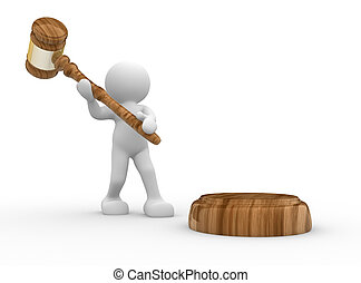 3d people- human character with a justice hammer - gavel...
