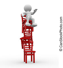 Chairs in equilibrium - 3d people - human character stand on...