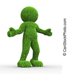 Green - 3d people - human character in grass texture. 3d...