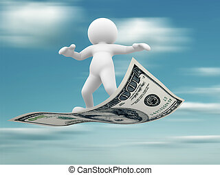 Flying - 3d people - human character flying on U.S. dollars....