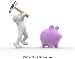 Piggy-bank - 3d people - human character about to break his...