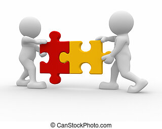Puzzle pieces - Two person matching puzzle pieces -This is a...