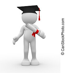Graduation and diplama - 3d people - human character with...