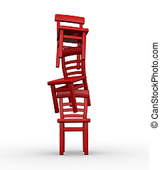 Chairs in equilibrium - Three chairs in equilibrium on white...