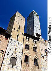 Salvucci Tower in San Gimignano, Tuscany - Salvucci Tower in...