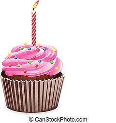 Wektor, Cupcake, płonący, świeca
