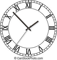 reloj, esfera, romano, números