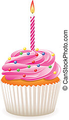 Cupcake, abrasador, vela