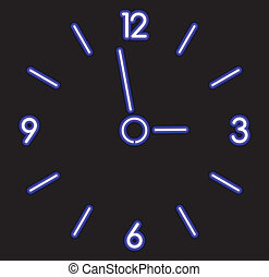 vector neon clock