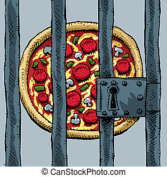 Pizza in Prison - A cartoon pizza behind bars.