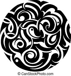 Tribal circle - Decorative abstraction with artistic tribal...