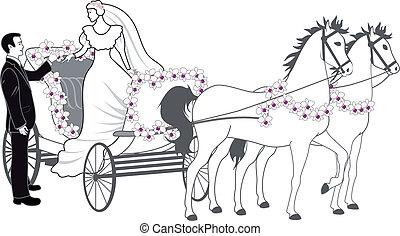 carruaje, recién casados