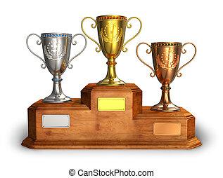 or, argent, bronze, trophée, tasses, piédestal