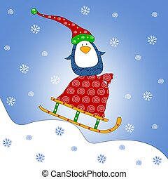 Penguin on sled - Colorful graphic illustration for children