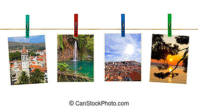 Croatia photography on clothespins isolated on white...