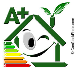 Energy Certification A - Green house stylized with...