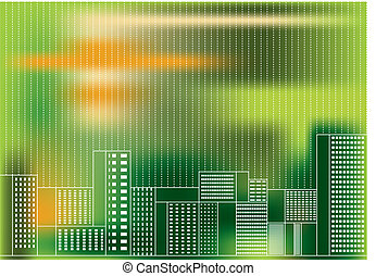 green city by day  - vector illustration