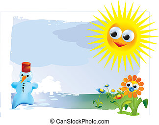 spring snowman, flower, sun - illustration, colourfull