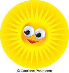 Sun vector icon - yellow, happy sun