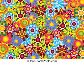 Flowers raster image  - illustration