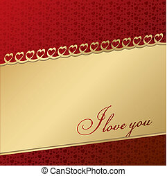 Vector greeting card with hearts