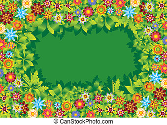 Flowers garden frame vector - illustration / background