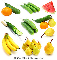 fruits and vegetables collection isolated on white background