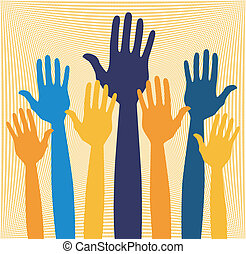 Hands volunteering or voting vector - Hands volunteering or...