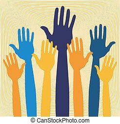 Hands volunteering or voting vector