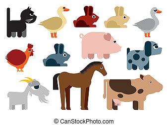 Animals in farm / Illustration