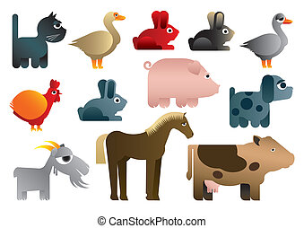 Animals in farm Illustration