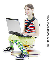 teenage girl with a laptop