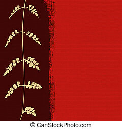 white foliage silhouette on red background with text space