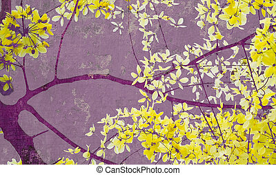 Golden shower tree on purple wall art print