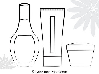 Cosmetic products Vector collection on white for make up