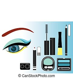 Makeup close-up.Vector image