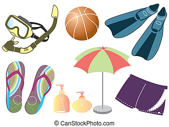 Collection of doodle icons set on summer female vacation theme